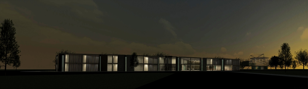 Exterior night render of Hotel and Circus School